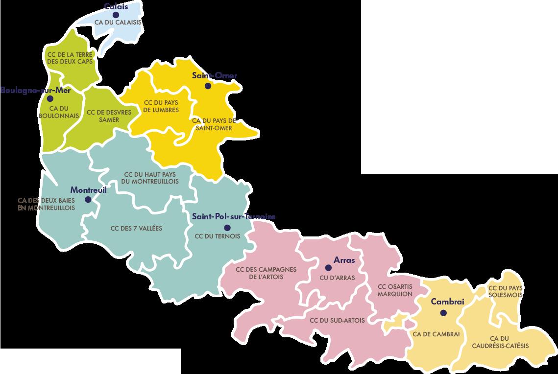 Carte du territoire d'intervention OCAPLIE